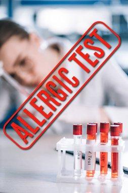 Selective focus of glass test tube with lettering near allergist, allergic test illustration stock vector