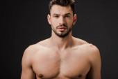 szexi meztelen barna férfi elszigetelt szürke