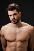Photo brunette sexy naked man isolated on black