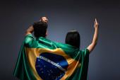 Fotografie Ein paar Fußballfans gestikulieren mit brasilianischer Flagge auf Grau