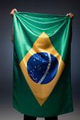 back view of football fan holding brazilian flag on grey