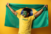 cheerful african american football fan with painted face holding brazilian flag on yellow