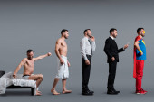 collage of man waking up, businessman talking on smartphone and superhero in mask  standing on grey, evolution concept