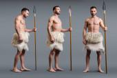 Collage eines muskulösen Höhlenmenschen mit Speer auf Grau, Evolutionskonzept