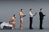 collage of man sitting on bed, standing and using laptop in formal wear on grey, evolution concept