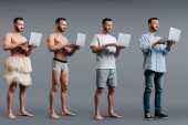 Collage aus muskulösem Höhlenmenschen, Mann in Boxershort und Geschäftsmann mit Laptop auf grauem, evolutionärem Konzept