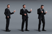 collage of happy businessman using smartphone on grey, evolution concept