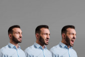 collage of emotional and bearded man screaming isolated on grey