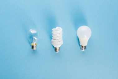 top view of different light bulbs on blue, evolution concept