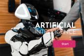 levágott kilátás üzletember kézfogás mosolygó robot az irodában, mesterséges intelligencia illusztráció