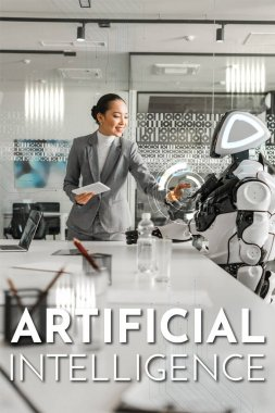 attractive asian businesswoman operating robot while holding digital tablet, Artificial Intelligence illustration