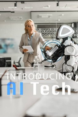 selective focus of attractive businesswoman operating robot while holding digital tablet, ai tech illustration