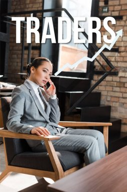 serious asian businesswoman sitting in armchair and talking on smartphone, traders illustration