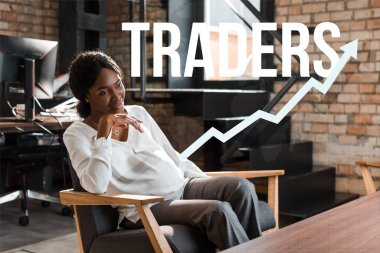 smiling, pregnant african american businesswoman sitting in armchair and looking away, traders illustration