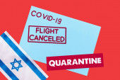 top view of blue envelope with covid-19, flight canceled and quarantine lettering near flag of israel isolated on red
