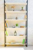 Fotografie Regale mit Büchern, Uhr, Laterne, Zimmerpflanzen und Buddhakopf