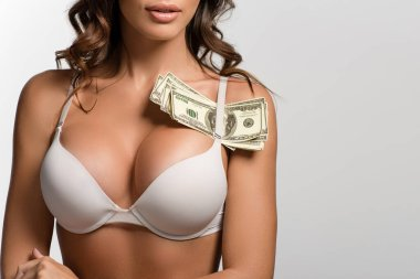 Partial view of sexy girl with dollar banknotes under strip of bra isolated on white stock vector