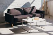 obývací pokoj s šedou pohovkou a stolem s šálkem kávy, notepad a dům rostlina na slunci