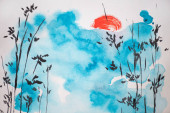 Japanese painting with blue sky, sun and branches on white background