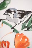 Fotografie Japanische Malerei mit Vogel auf Zweig auf weißem Hintergrund