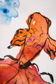 Japanische Malerei mit orangefarbenem Fisch auf weißem Hintergrund