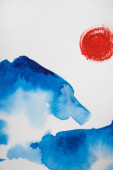 Japonská malba s mraky a sluncem na bílém pozadí