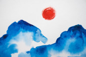 Japanese painting with clouds and sun on white