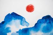 Japonská malba s mraky a sluncem na bílém