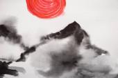 Fotografie Japanische Malerei mit Hügeln und roter Sonne auf Weiß