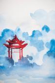 Fotografie Japanische Malerei mit Tempel auf weißem Hintergrund