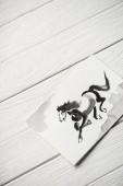 Top view papír japán festészet szürke ló fa háttér