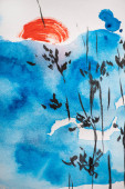 Japanische Malerei mit blauem Himmel, Ästen und Sonne auf weißem Hintergrund