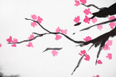 Japanese painting with Sakura branches with flowers on white