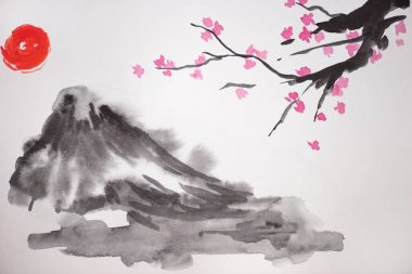 Japanese painting with sun, hill and Sakura branches on white background stock vector