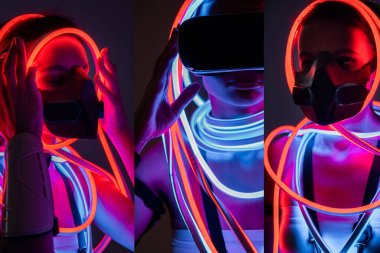 collage of futuristic african american woman in respirator, vr headset and neon lighting