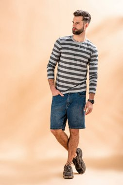 Handsome stylish bearded man posing in striped sweatshirt on beige stock vector