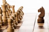 Selektivní zaměření hnědého rytíře proti šachovým figurkám na šachovnici izolované na bílém