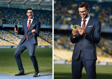 Collage excited young businessman in suit and glasses holding smartphone with blank screen and showing yes gesture, businessman with money at stadium stock vector
