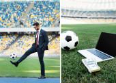 Fotografie Collage eines jungen Geschäftsmannes in Anzug und Brille, der mit Fußball, Laptop mit Ball und Geld auf dem Rasen im Stadion spielt