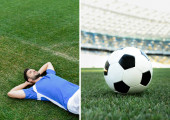 collage of professional soccer player in blue and white uniform lying on grass and ball on football pitch at stadium