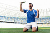 professional soccer player in blue and white uniform with sports cup standing on knees on football pitch and shouting at stadium