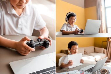 KYIV, UKRAINE - APRIL 22, 2020: collage with asian boy studying online, playing video game with joystick, laptop and headphones on quarantine stock vector