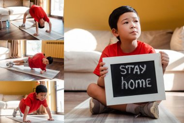 Collage with sportive asian boy exercising and holding board with stay home lettering during self isolation stock vector