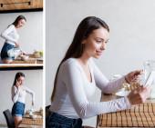 koláž šťastné dívky mluví na smartphonech, nalévání mléka v miskách a přidržování lžíce s kukuřičnými vločkami