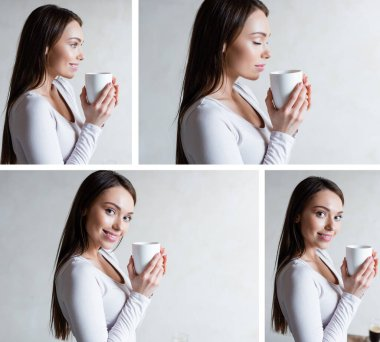 collage of cheerful woman holding cups and smiling at home