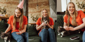 collage of happy young woman in party cap holding in arms cute cat near smartphones on sofas