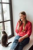 šťastná žena sedí na parapetu s kočkou a mluví na smartphonu