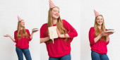 collage of happy girl in party caps holding present and birthday cakes isolated on white