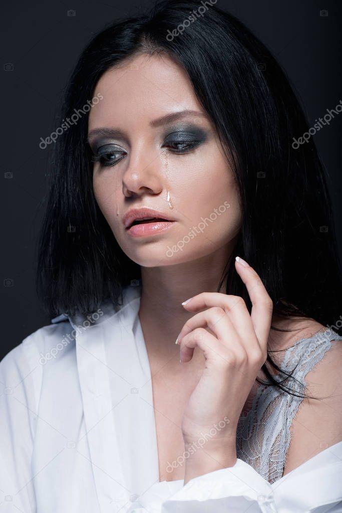 Sad brunette woman