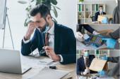 a munkahelyen ülő kimerült üzletember kollázsa, aki papírzacskót és pizzás dobozokat vesz el az élelmiszer-szállító embertől, és terminállal bankkártyával fizet